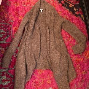 Joie taupe asymmetrical wrap cardigan sweater